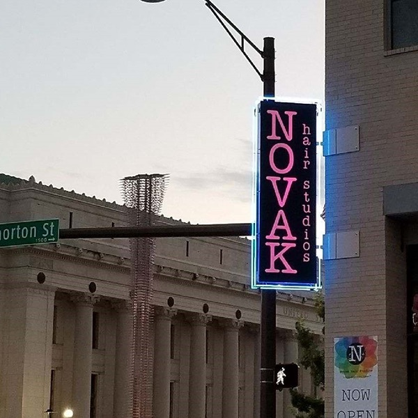 Blade Signs Novak Pink Lighted Signs